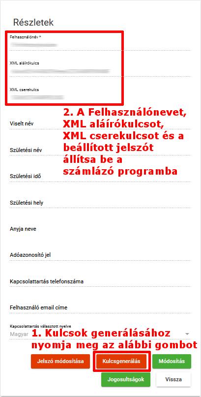 XML kulcsok generálása